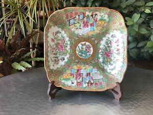 Antique Chinese Late Qing Famille Rose Floral Square Plate with Figures - LARGE