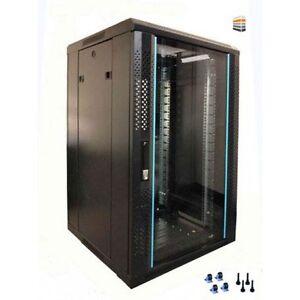 details zu 12u server rack cabinet 600 w x 800 d x 634 h glass front door rackcabinet