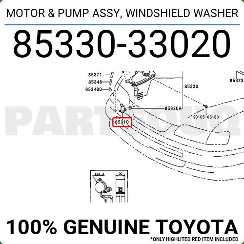 8533033020 Genuine Toyota MOTOR & PUMP ASSY, WINDSHIELD