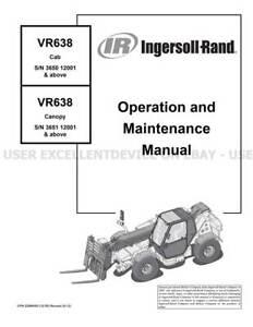 Bobcat Ingersoll Rand VR638 Printed Operation Maintenance