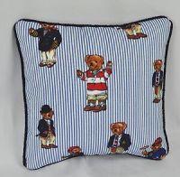 Pillow made with Ralph Lauren Polo Teddy Bear Blue Pin ...