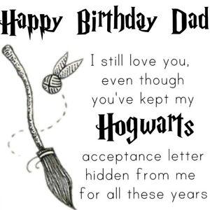 Dad happy birthday Harry potter funny Hogwarts card black