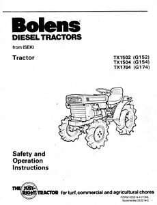 Bolens Diesel Tractor TX1502 TX1504 TX1704 Operator