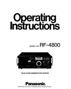 Panasonic RF-4800 Communications Receiver Owners