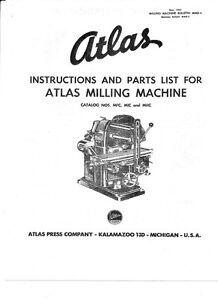 1954 Atlas Instruction & Parts Milling Machine MFC, MIC