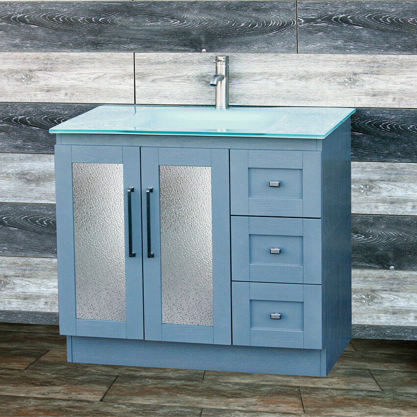 36 Bathroom Vanity 36 Inch Cabinet Glass Top With Integrated Sink B3621g Gt For Sale Online