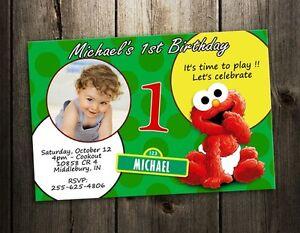 Elmo Sesame Street Party Invitation Birthday Card Baby