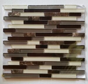 details about 1 american olean mosaic chateau emperador linear stone glass marble 0494086 new