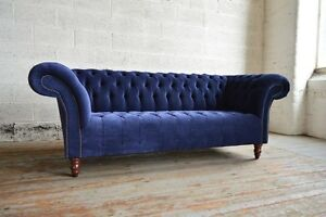 blue velvet chesterfield sofa beds uk modern handmade couch chair 3 seat navy image is loading