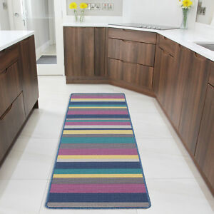 kitchen runner washable bar tables colourful striped long hallway soft anti slip image is loading