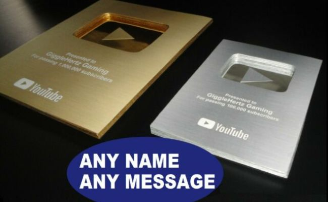 YouTube Gold Play Button golden award plaque paperweight metal Twitch Replica FS