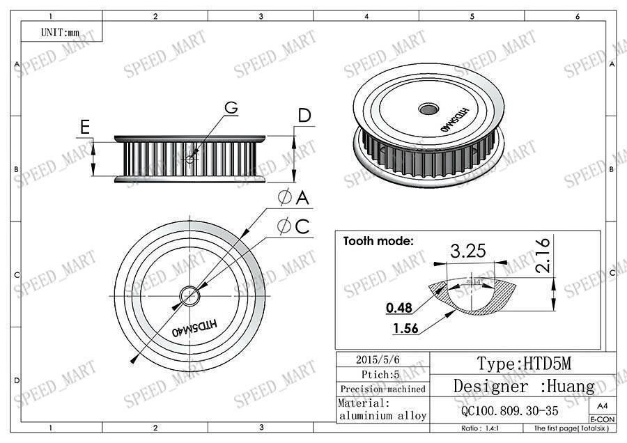 HTD5M Aluminum Timing Belt Pulley 40 Teeth 20mm Bore 16mm