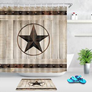 details about western texas star shower curtain set hooks rustic wood barn bathroom decor