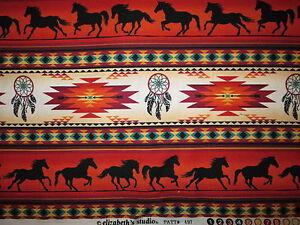 Navajo Indian Totem Horse Border Terracotta Black Cotton