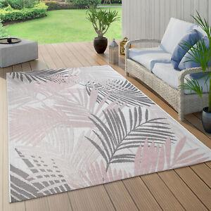 details sur tapis interieur exterieur pour balcon et terrasse avec motif palmiers rose