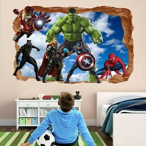 details about avengers superhero wall stickers mural decal hulk spiderman iron man thor ea76