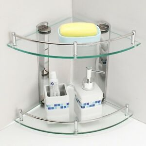 2 Tier Bathroom Corner Shelf Shelve Glass Shower Wall Mounted Storage Caddy  eBay