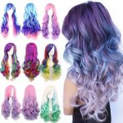 rainbow wig super long curly wavy