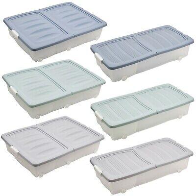 40 ou 55 l large sous lit boite de rangement en plastique a roulettes avec couvercles chaussures vetements ebay
