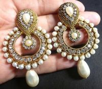 South Indian Antique Gold plated Vintage Pearl Drop CZ ...