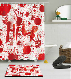 details about help bloody halloween waterproof polyester shower curtain bathroom mat