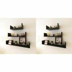 details sur vidaxl 6x etagere murale noir meuble de rangement etagere de stockage salon