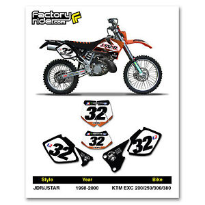 1998-2000 KTM EXC Dirt Bike Graphics Custom Number Plate