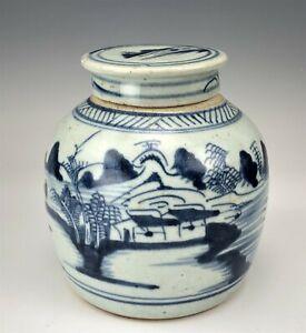 Antique Chinese Export Handpainted River Boat Landscape Lidded Porcelain Jar 777