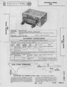 1958 MOTOROLA 8MX AUTO CAR RADIO SERVICE MANUAL PHOTOFACT