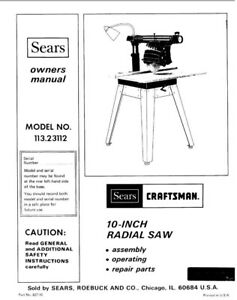 Craftsman 113.23112 Radial Saw Owners Instruction Manual