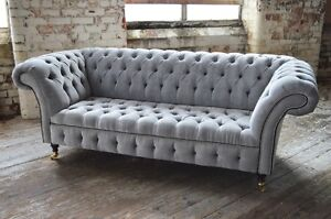 chesterfield sofa material large lounge modern handmade silver grey velvet fabric couch image is loading