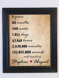 5 Year Anniversary Gift Girlfriend Wife 5th Anniversary Wedding Anniversary Ebay