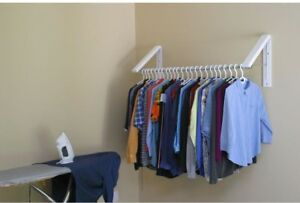 Collapsible Wall Mount Clothes Hanging Rod Storage Rack