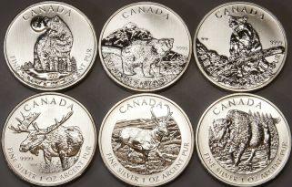 1 OZ Unze Silber 9999 Feinsilber Münze Canada 2011 Grizzly Bär Anlage Barren RAR