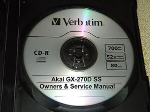 AKAI GX270D SS REEL TO REEL TAPE DECK OPERATOR'S & SERVICE MANUAL ON A CD   eBay