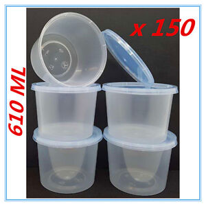 150 X PLASTIC TAKE AWAY ROUND FOOD SAFE CONTAINER ...