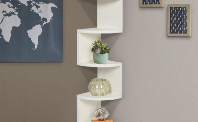 Large Corner Wood Zig Zag Wall Shelf White Finish Home
