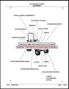 Kubota B7500HSD Tractor illustrated Parts Manual Exploded