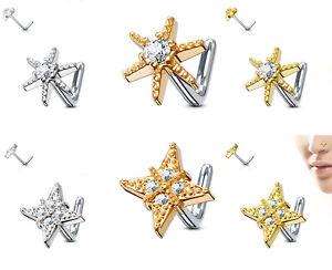 Nasenpiercing - Nasenstecker Stud Stern Diamant Piercing Stecker Zirkonia