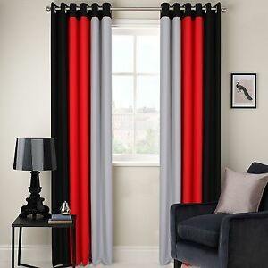 RING TOP FULLY LINED 3 TONE READY MADE PAIR OF EYELET CURTAINS