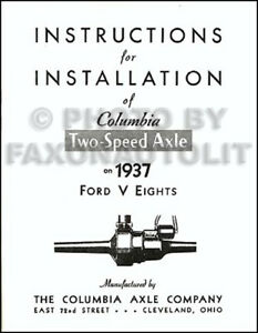 1937 1938 Ford Columbia Overdrive Axle Manual Set