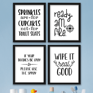 Funny Bathroom Wall Art Prints Farmhouse Decor Quotes Signs Pictures Gag Gift Ebay
