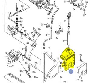 AUDI urS4 urS6 A8 1994-03 POWER STEERING RESERVOIR OR TANK