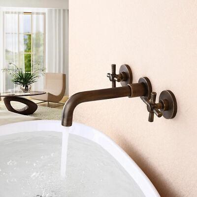 vintage wall mounted double cross handle bathroom sink basin taps antique brass ebay