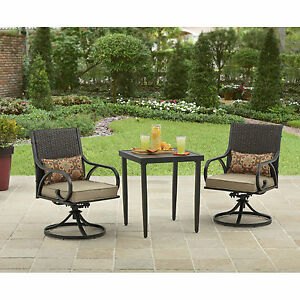 one piece patio chair cushions wheelchair armrest 3 bistro set swivel rocker chairs with outdoor furniture | ebay