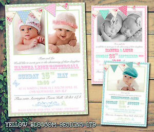 details about 10 bunting shabby chic boys girl twin christening naming day baptism invitations