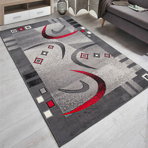 Teppich Wohnzimmer Modern Muster in Grau Rot  180x250  200x300  TOP  eBay