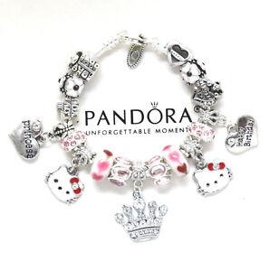 Pandora Bracelet Hello Kitty Kids 6.7 European Charms Pink