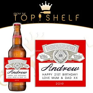 Personalised Budweiser lager / beer bottle label any name ...