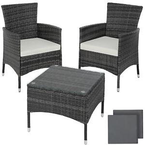 details sur acier ensemble de jardin poly rotin set meuble terrasse balcon table chaise gris